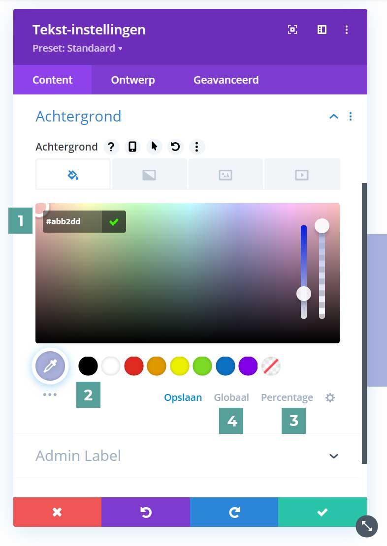 Divi update 4.9 globale kleuren kleurinstellingen