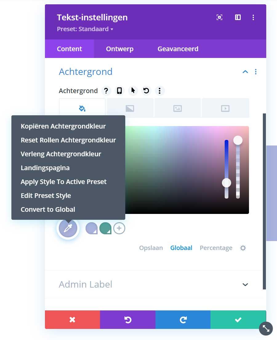 Divi update 4.9 globale kleuren zoek en vervang